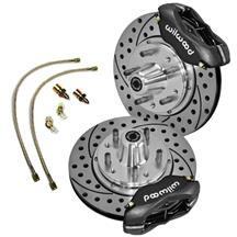 Mustang Wilwood Forged Dynalite Pro Series Front Brake Kit w/ Hoses - Black (87-93)