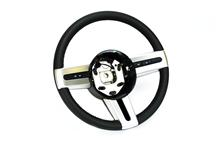 Mustang Steering Wheel, Leather Wrapped with Satin Silver  (05-09)