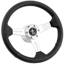 Mustang Perforated Leather Steering Wheel  - Brushed Aluminum (84-89)