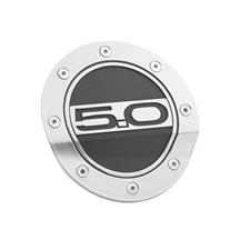 Mustang Comp Series Fuel Door w/ 5.0 Logo  - Silver & Black (15-19)