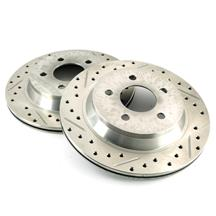 Mustang Drilled & Slotted Rear Brake Rotors, Pair (94-04)