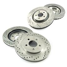 Mustang Brake Rotor Kit - Drilled & Slotted - Front & Rear (07-14) GT/GT500/BOSS 302