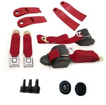 Mustang Front Seat Belt Kit  - Scarlet Red (79-89)