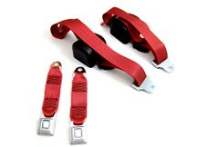 Mustang Front Seat Belt Set Scarlet Red (87-89)