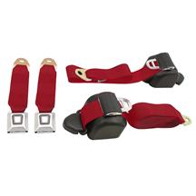 Mustang Front Seat Belt Set  - Scarlet Red (90-93)