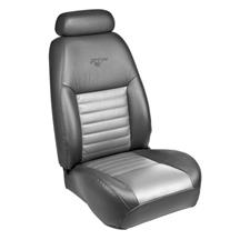 Mustang TMI 35th Anniversary Leather Front Seat Upholstery Kit  - Dark Charcoal/Silver (1999)