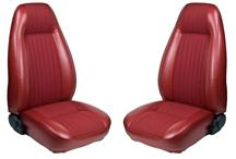 Mustang TMI Seat Upholstery Medium Red Cloth/Vinyl (81-82) High Back Coupe