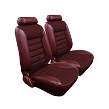 Mustang TMI Seat Upholstery Medium Red Cloth/Vinyl (81-82) Low Back Coupe