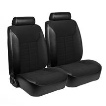 Mustang TMI Seat Upholstery Black Cloth/Vinyl (1981) Low Back Ghia Coupe