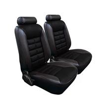 Mustang TMI Seat Upholstery Black Cloth/Vinyl (81-82) Low Back Hatchback