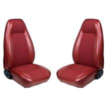 Mustang TMI Seat Upholstery Medium Red Vinyl (81-83) High Back Hatchback