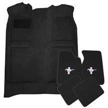 Mustang Floor Carpet & Pony Logo Floor Mat Kit Black (82-93) Coupe Hatchback