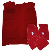 Mustang Floor Carpet & Pony Logo Floor Mat Kit Scarlet Red (87-92) Coupe Hatchback
