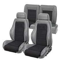 Mustang TMI 03-04 Cobra Style Upholstery with Seat Foam Smoke Gray Vinyl/ Black Suede Insert (87...