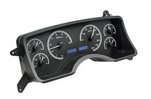Mustang Dakota Digital VHX Digital Instrument Cluster  - Black Alloy, Blue Backlighting (90-93)