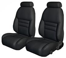 Mustang TMI Sport Seat Upholstery Black Leather (94-96) Coupe