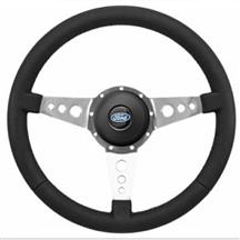 Mustang Premium Leather Steering Wheel Kit  - 3 Hole Spoke - Ford Oval Button (79-83)