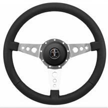 Mustang Premium Leather Steering Wheel Kit  - 3 Hole Spoke - Pony Logo Button (79-83)