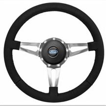 Mustang Premium Leather Steering Wheel Kit  - Slotted Spoke - Ford Oval Button (84-89)