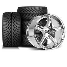 Mustang Cobra R Wheel & Tire Kit - 17x9 Chrome (87-93)