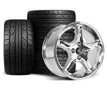Mustang Cobra R Wheel & Tire Kit - 17x9  - Chrome - NT555 G2 Tires (87-93)