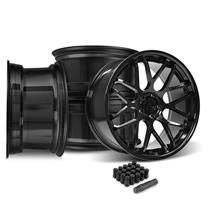 Mustang Downforce Wheel Kit - 20x8.5/10  - Gloss Black (15-20)