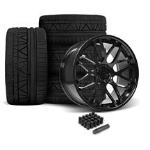 Mustang Downforce Wheel & Tire Kit - 20x8.5/10  - Gloss Black - Invo Tires (05-14)
