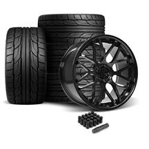 Mustang Downforce Wheel & Tire Kit - 20x8.5/10  - Gloss Black - NT555 G2 Tires (05-14)