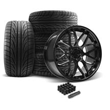 Mustang Downforce Wheel & Tire Kit - 20x8.5/10  - Gloss Black - Ohtsu Tires (05-14)