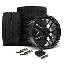 Mustang Downforce Wheel & Tire Kit - 20x8.5/10  - Gloss Black - Invo Tires (15-19)