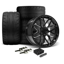 Mustang Downforce Wheel & Tire Kit - 20x8.5/10  - Gloss Black - NT05 Tires (15-19)