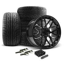 Mustang Downforce Wheel & Tire Kit - 20x8.5/10  - Gloss Black - Ohtsu Tires (15-20)