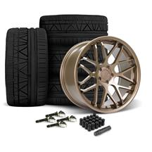 Mustang Downforce Wheel & Tire Kit - 20x8.5/10  - Satin Bronze - Invo Tires (15-19)