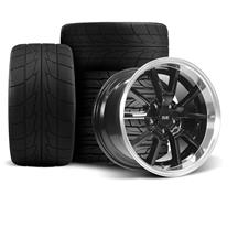 Mustang SVE FR500 Wheel & Drag Radial Tire Kit - 17x9/10.5  - Black w/ Machined Lip - Nitto Tire...