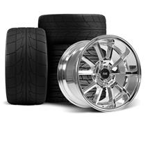 Mustang SVE FR500 Wheel & Drag Radial Tire Kit - 17x9/10.5  - Chrome (94-04)