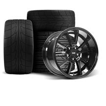 Mustang SVE FR500 Wheel & Tire Kit - 17x9/10.5  - Gloss Black - Nitto Tires (94-04)