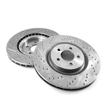 "Mustang Front Brake Rotors - 14"" - Drilled & Slotted (15-19)"