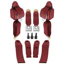 Mustang Front Seat Belt Kit  - Scarlet Red (90-93)