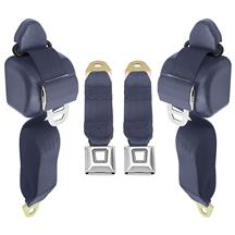Mustang Front Seat Belt Set  - Regatta Blue (85-89)