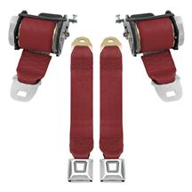 Mustang Rear Seat Belt Set  - Scarlet Red (87-89)