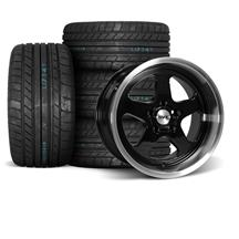 Mustang SVE Saleen SC Style Wheel & Tire Kit - 17x9/10  - Black - M/T Tires (94-04)