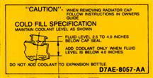 Mustang Coolant Caution Decal (79-86)