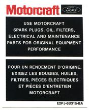Motorcraft Mustang Parts Decal (86-93)
