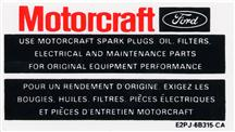 Mustang Motorcraft Parts Decal (84-85)
