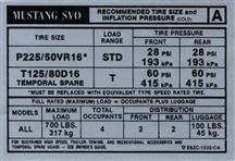 Mustang SVO Tire Pressure Decal (1986)