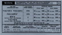 Mustang Tire Pressure Decal (1991)