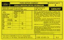 Mustang 3.3L Automatic Emissions Decal (1980)