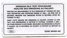 Mustang Emission Test Procedure Decal