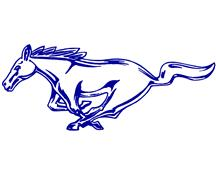"Mustang 12"" Running Pony Decal LH Blue"