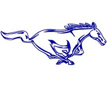 "Mustang 12"" Running Pony Decal RH Blue"